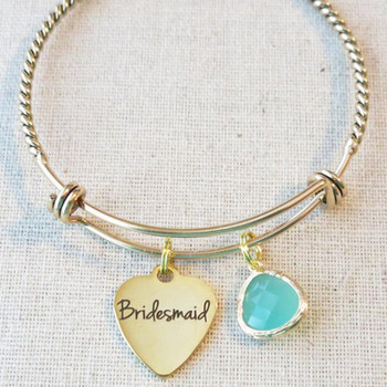 BRIDESMAID GIFT, Personalized Initial Bridesmaid Bracelet Gift, Bridesmaid Proposal, Will You Be My Bridesmaid Charm Gift, Tie the Knot Gift