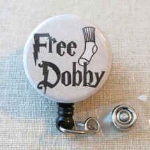 FREE DOBBY - Harry Potter Inspired Retractable Name Badge Holder, Teacher Nurse Free Dobby ID Badge Reel, Hospital Staff Nurse Badge Holder