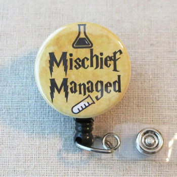 MISCHIEF MANAGED Retractable Name Badge Holder, Lab Tech Mischief Managed Badge Holder, Science Chemist ID Badge Reel, Cute Lab Tech Gift