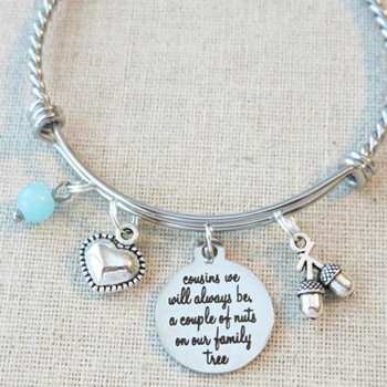 SPECIAL COUSIN GIFT, Cousins We Will Always Be, Cousin A Couple of Nuts Bracelet, Best Friend Cousin Gift, Couple of Nuts in Our Family Tree
