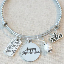 2020 RETIREMENT Gift Bangle Bracelet - Find Joy in the Journey Congratulations Gift