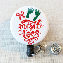 MISTLETOES Baby Feet Retractable Name Badge Reel, Labor & Delivery Holiday Mistle Toes Pediatric Badge Reel, Teacher Nurse ID Badge Reel