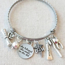 She Believed She Could So She Did HYGIENIST Gift, DENTAL HYGIENIST Tooth Bracelet, Dental Hygienist Grad Gift, Toothbrush Toothpaste Charms