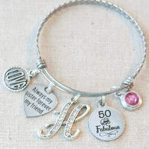 SISTER Gift, 30th 40th 50th 60th 70th BIRTHDAY Gift, Birthstone Gifts for Sister, 50 and Fabulous Bangle, Always My Sister Forever My Friend Bracelet