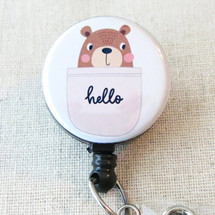 HELLO BEAR Retractable Name Badge Holder, Cute Hello Bear Badge Holder, Pediatric RN Badge Reel, Cute Medical Badge Gift, Nurse Badge Clip