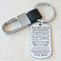 TO MY SON I Want You For Believe Gift for Son, Son Gift From Mom, Son Birthday Graduation Gift, Son From Mom Dog Tag Keychain Military Gift