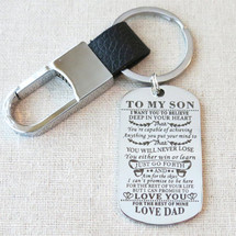 TO MY SON I Want You For Believe Gift for Son, Son Gift From Dad, Son Birthday Graduation Gift, Son From Dad Dog Tag Keychain Military Gift