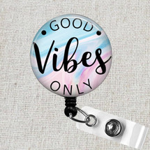 GOOD VIBES Only Retractable Badge Holder, Nurse Teacher Medical Professional ID Badge, Cute Good Vibes Badge Reel, Positive Vibes Gift