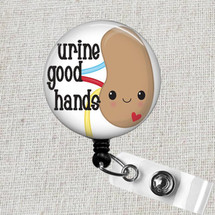 URINE GOOD HANDS Badge Reel Holder, Kidney Badge Reel, Renal Nurse Reel Holder, Dialysis Tech Badge Reel, Funny Kidney Medical Badge Reel
