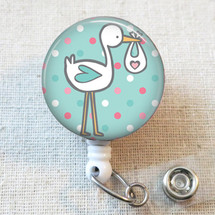 Stork Badge Reel, OBGYN Nurse Baby Badge Reel, Labor and Delivery Obstetrics Retractable ID Badge Holder, Ob Gyn Nurse Gift, NICU Nurse Gift
