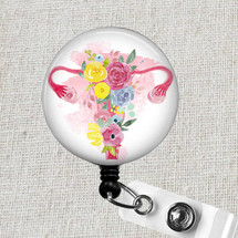 UTERUS Badge Reel, Floral Uterus Ovaries Retractable Badge Holder, OB Nurse Badge Clip, Labor & Delivery Badge Reel, Midwife Badge Pull Gift