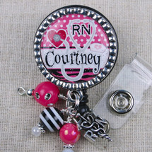 Nurse Name Badge - Hot Pink Zebra Stripe Design