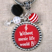 Without Music Life Would Be Flat Key Ring - In Red