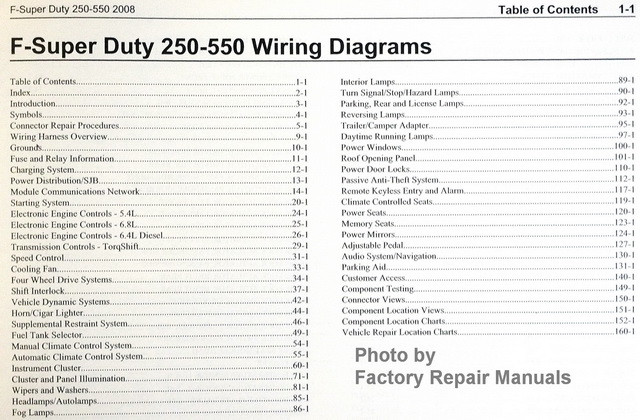 2008 Ford F250 F350 F450 F550 Super Duty Truck Electrical