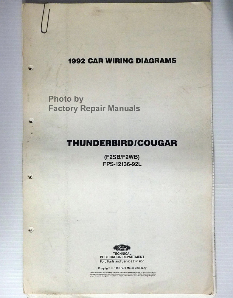 1992 ford thunderbird mercury cougar electrical wiring diagrams