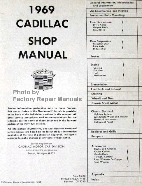 1969 Cadillac Shop Manual Table of Contents
