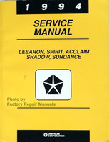 1994 Service Manual LeBaron Spirit Acclaim Shadow Sundance