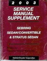 2003 Service Manual Supplement Sebring Sedan/Convertible & Stratus Sedan