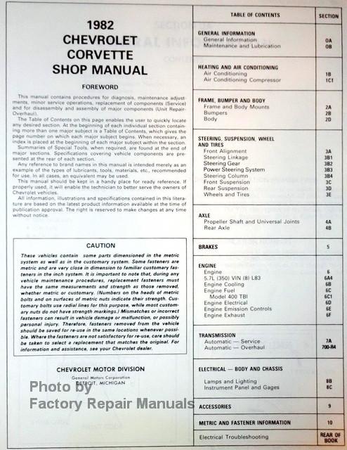 1982 Chevy Corvette Shop Manual Table of Contents