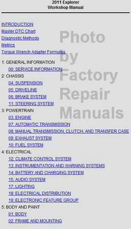 Ford 2011 Explorer Service Information CD Table of Contents