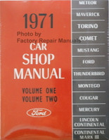 1971 Ford Lincoln Mercury Car Shop Manual Volume 1, 2, 3, 4, 5