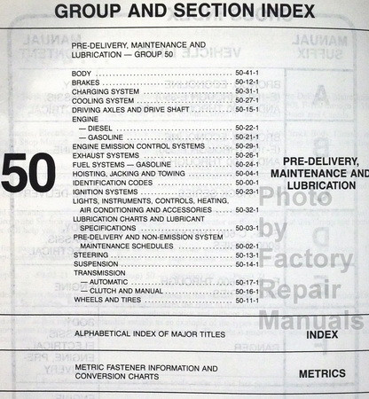 1983 Ford Truck Shop Manual Pre-Delivery Lubrication Maintenance Table of Contents