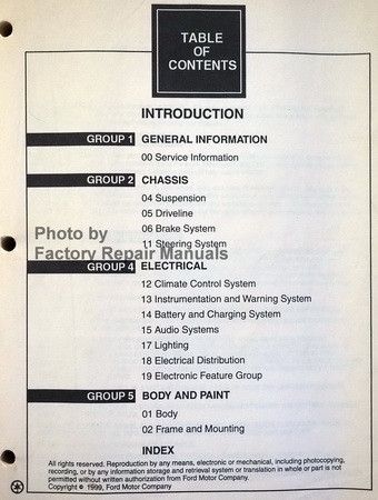 2000 Ford F-150 Workshop Manual Table of Contents 1