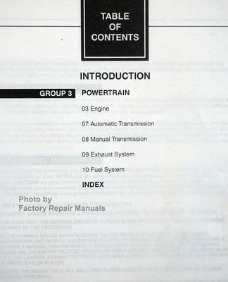 1998 Ford F150, F250 Service Manual Table of Contents 2