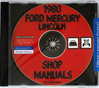 1980 Ford Mercury Lincoln Shop Service Manuals 14 Volumes on CD