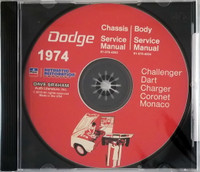 1974 Dodge Challenger Dart Charger Coronet Polara Monaco Service Manual Volume 1, 2 on CD