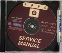 1990 Service Manual Rear Wheel Drive Truck D&W 150-350 Ramcharger CD