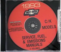 Chevrolet 1993 C/K Models Service, Fuel & Emissions Manuals