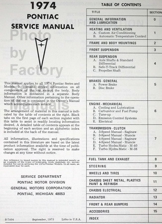 1974 Pontiac Service Manual Table of Contents