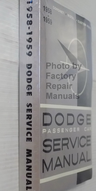 1958 1959 Dodge Passenger Car Shop Manual Coronet Royal Custom Royal Spine View