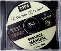 1998 Chevrolet Camaro Pontiac Firebird Service Manual Volume 1, 2, 3 on CD