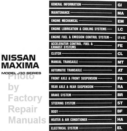 Nissan Maxima 1993 Service Manual Table of Contents