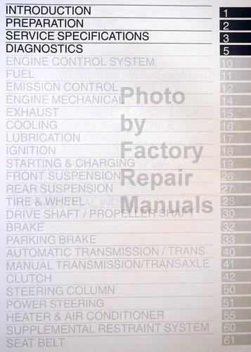 2004 Toyota Corolla Repair Manual Table of Contents 1