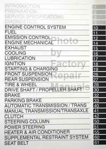 2004 Toyota Corolla Repair Manual Table of Contents 2
