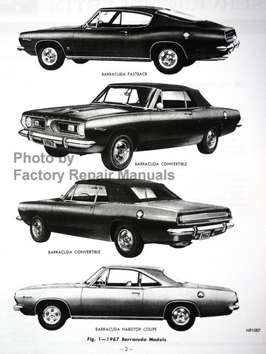 1967 Plymouth  Barracuda Service Bulletin Model Application