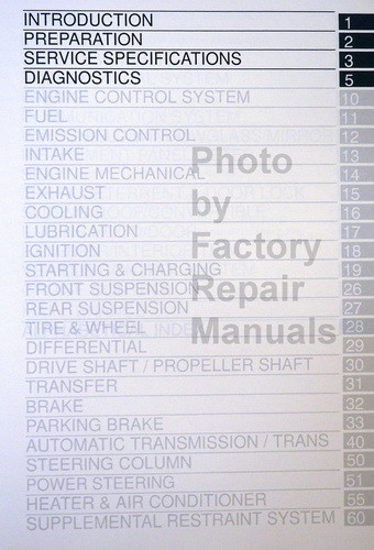 2004 Toyota Sienna Repair Manual Table of Contents 1