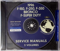 1996 F-150 F-250 F-350 Bronco F-Super Duty Service Manual Volume 1 and 2 on CD