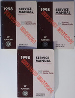 1998 Chevy Lumina, Monte Carlo Factory Service Manual Set Original Shop Repair