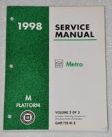 1998 CHEVROLET GEO METRO LSi Factory Shop Service Repair Manual Vol 2 Chassis