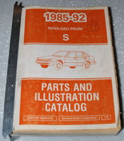1985 1992 Chevy Nova GEO Spectrum Parts and Illustration Catalog Manual