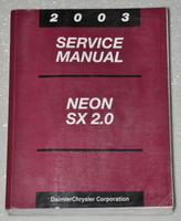 2003 Dodge Neon SX 2.0 Factory Service Manual Original Shop Repair