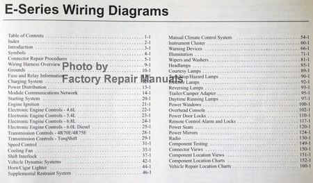 wiring diagrams ford 2005 e-series table of contents