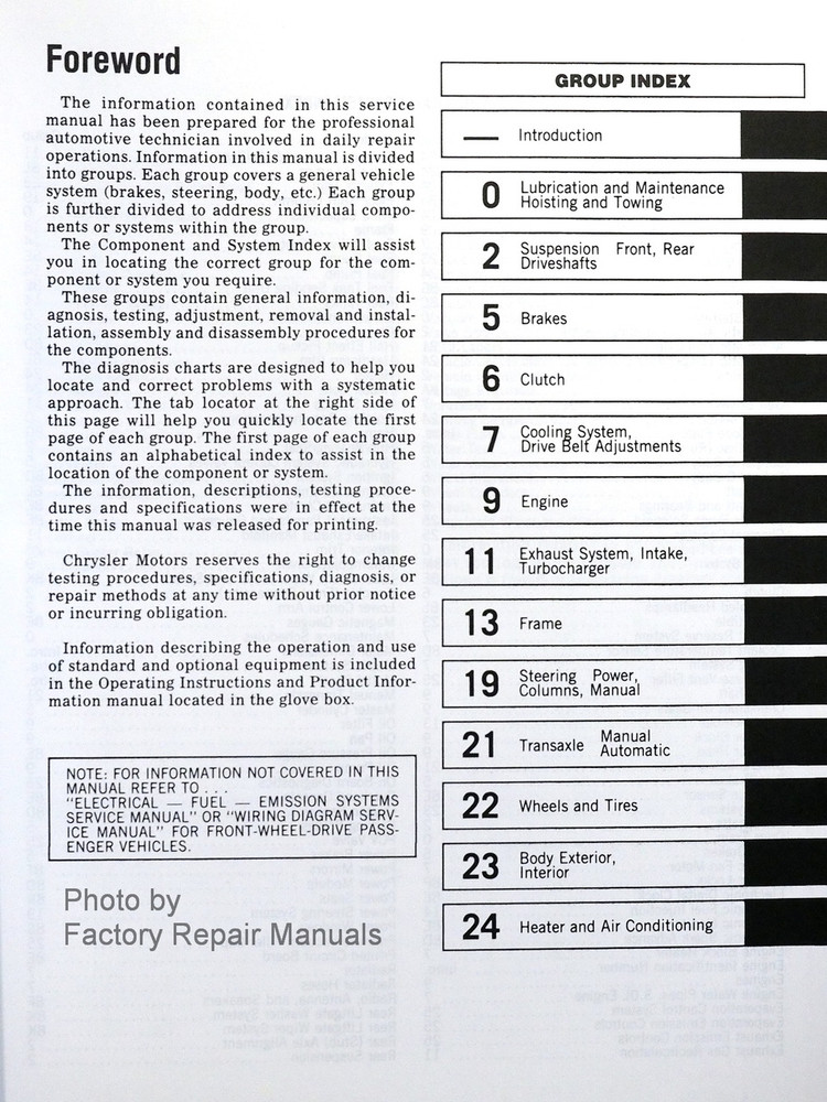 1988 Chrysler Plymouth Dodge FWD Car Service Manuals Table of Contents