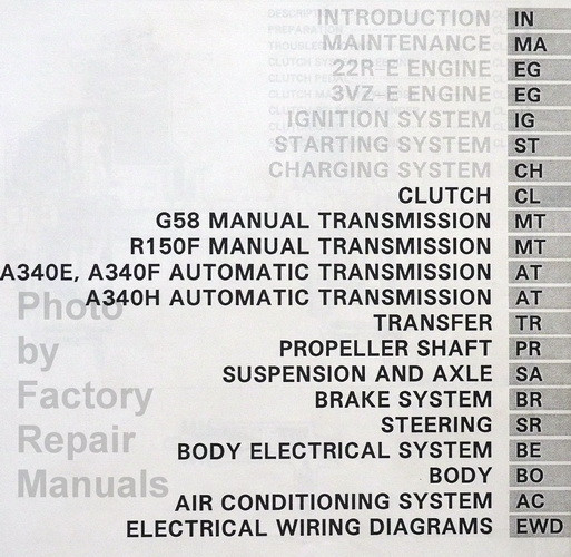 1994 toyota 4runner factory repair manual table of contents 2