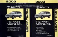 2003 toyota highlander repair manual volume 1 and 2