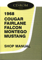1968 Ford Mustang Falcon Fairlane Mercury Cougar Montego Shop Service Manual CD